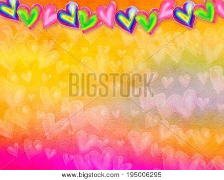 A watercolour effect background design with hand painted love heart shapes.