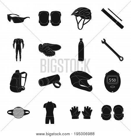 Gloves, suit, helmet, sneakers and other equipment. Cyclist outfit set collection icons in black style vector symbol stock illustration .