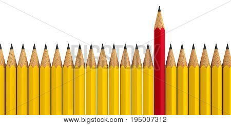 Red pencil among yellow pencils - conceptual image of the individuality three-dimensional rendering 3D illustration