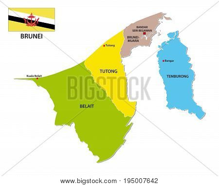 Nation of Brunei administrative and political map with flag