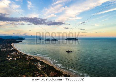 Aerial View of Sao Sebastiao Beaches, Sao Paulo, Brazil