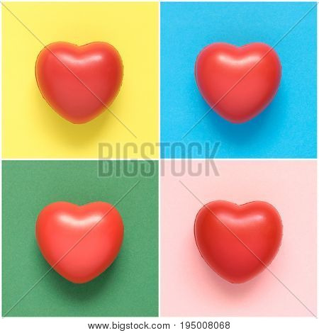 Collage of colorful heart shapes on paper background