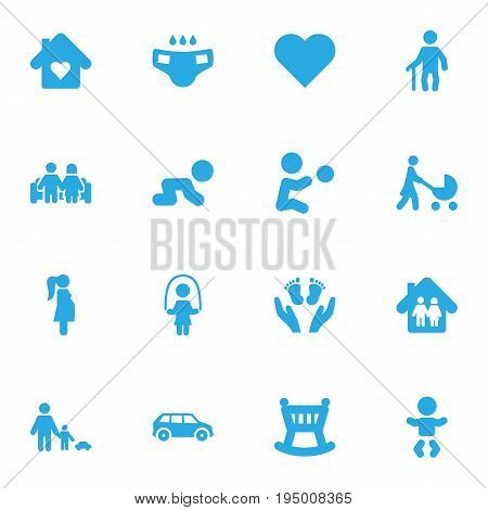 Set Of 16 Relatives Icons Set.Collection Of Girl, Perambulator, Creep Baby And Other Elements.