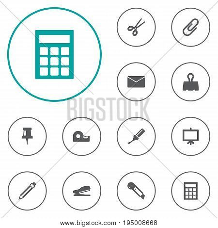 Set Of 12 Stationery Icons Set.Collection Of Pushpin, Clip, Paper  Clamp And Other Elements.