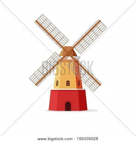 Mill vector illustration, flat cartoon windmill isolated on white background