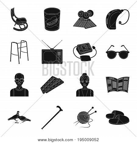 Armchair, slippers, tonometer and other attributes of old age.Old age set collection icons in black style vector symbol stock illustration .
