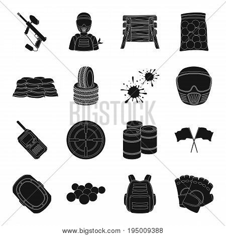 Marker for paintball, equipment, balls and other accessories for the game. Paintball single icon in black style vector symbol stock illustration .