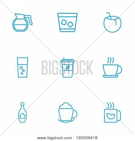 Set Of 9 Beverages Outline Icons Set.Collection Of Fizzy Water, Cappuccino, Coffeepot And Other Elements.
