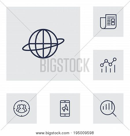 Set Of 6 Advertising Outline Icons Set.Collection Of Brand Awareness, Mobile Marketing, Campaign Elements.