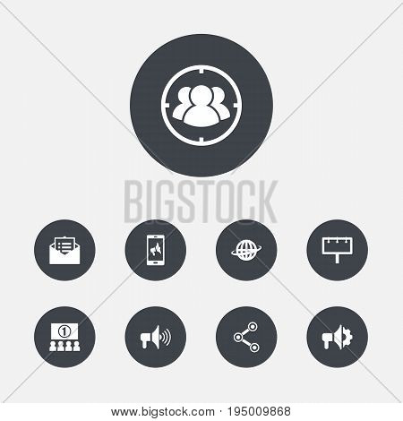 Set Of 9 Commercial Icons Set.Collection Of Group, Application, Share And Other Elements.