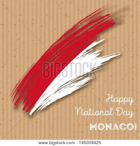 Monaco Independence Day Patriotic Design. Expressive Brush Stroke In National Flag Colors On Kraft P