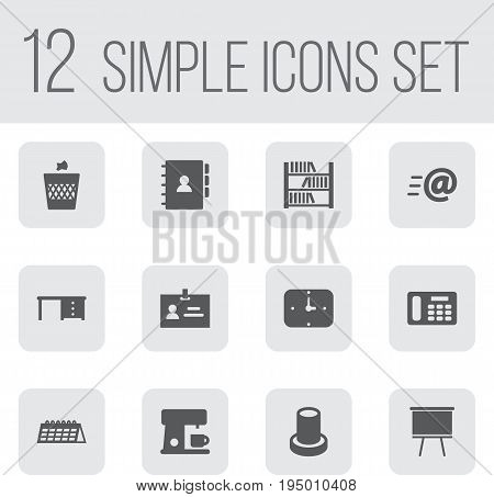 Set Of 12 Workspace Icons Set.Collection Of Date , Book, Stand Elements.