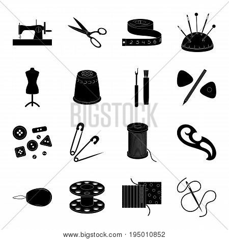 Machine, sewing, scissors and other sewing equipment. Medical, medicine set collection icons in black style vector symbol stock illustration.