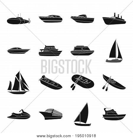 Yacht, boat, liner, types of ship and water transport. Ship and water transport set collection icons in black style vector symbol stock illustration .