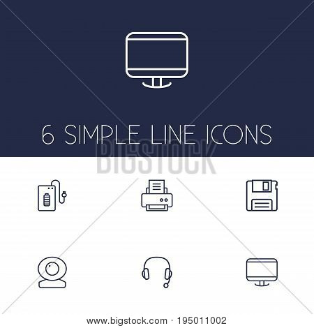 Set Of 6 Computer Outline Icons Set.Collection Of Floppy, Printer, Powerbank And Other Elements.