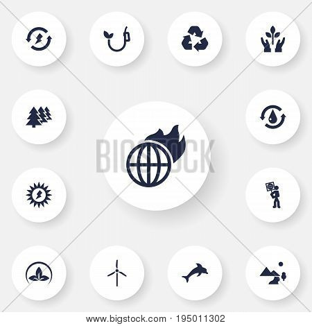 Set Of 13 Ecology Icons Set.Collection Of Protection, Reforestation, Fish And Other Elements.