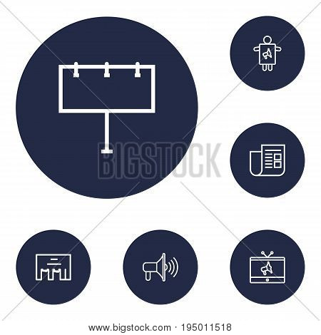 Set Of 6 Trade Outline Icons Set.Collection Of Promotion, Worker, Newspaper And Other Elements.