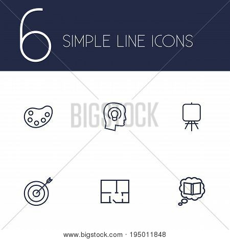 Set Of 6 Creative Outline Icons Set.Collection Of Palette, Concept, Target And Other Elements.