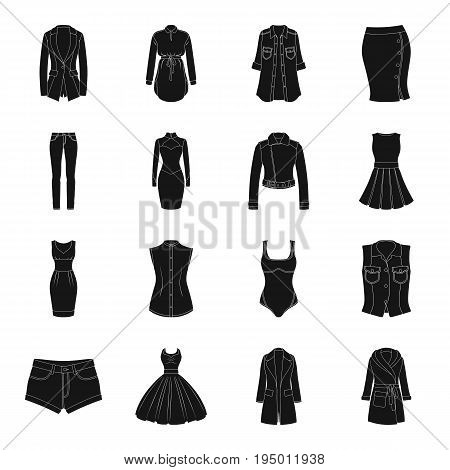 Dress, sarafan, coats of women's clothing. Women's clothing set collection icons in black style vector symbol stock illustration .