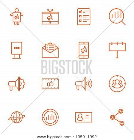 Set Of 16 Trade Outline Icons Set.Collection Of Email Promotion, Market, Advertising Agency And Other Elements.