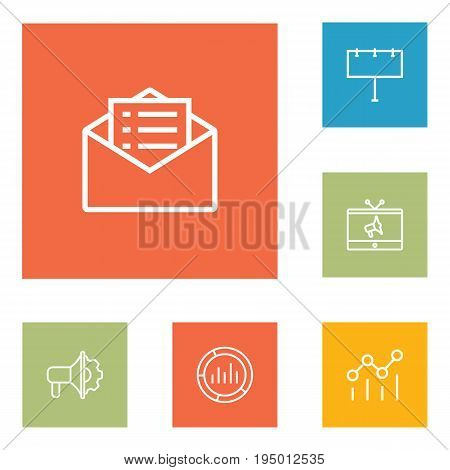 Set Of 6 Commercial Outline Icons Set.Collection Of Tv, Email Promotion, Advertising Agency And Other Elements.