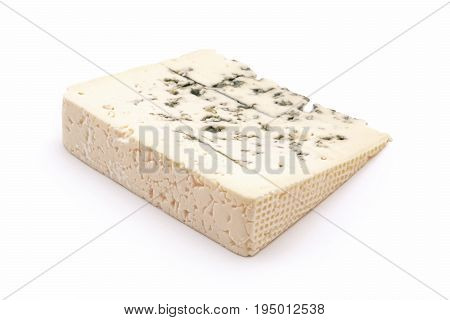 one Gorgonzola cheese slice studio isolated closeup