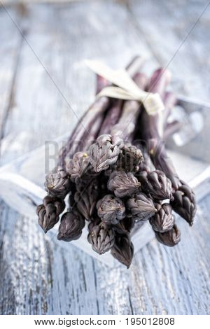 Row purple Asparagus as close-up in a tray