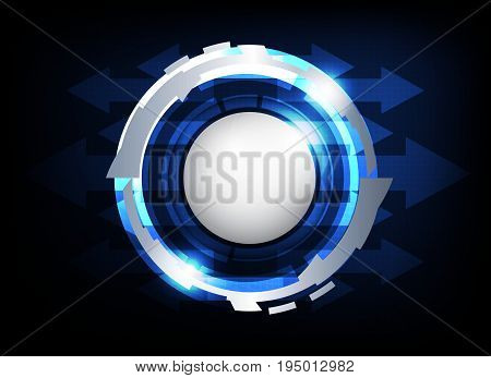 silver circle button hi-tech abstract on dark blue background vector technology background
