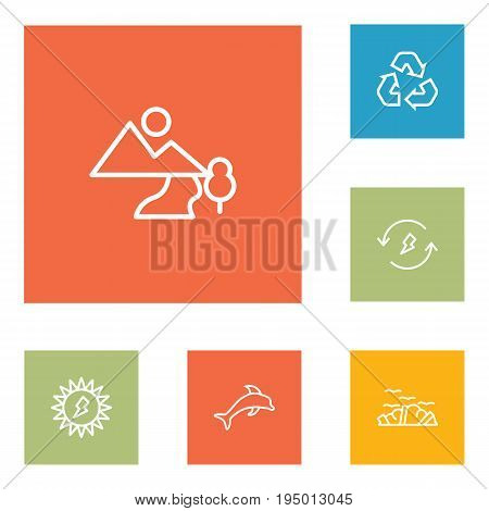 Set Of 6 Ecology Outline Icons Set.Collection Of Garbage, Dolphin, Landscape Elements.