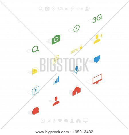 Set isometric icons in flat style isolated on white background. Symbol for your web design and logo. Vector illustration EPS 10