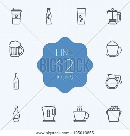 Set Of 12 Beverages Outline Icons Set.Collection Of Hot Drink, Ice Bucket, Coffeepot And Other Elements.