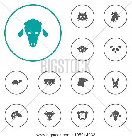 Set Of 12 Alive Icons Set.Collection Of Pussy, Trunked Animal, Night Fowl And Other Elements.