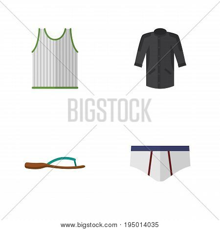 Flat Icon Clothes Set Of Beach Sandal, Uniform, Singlet Vector Objects. Also Includes Clothes, Uniform, Singlet Elements.