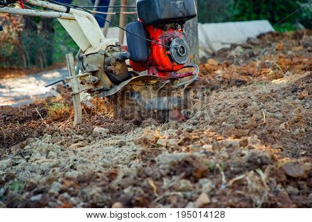 Closeup of the cultivating soil in the garden