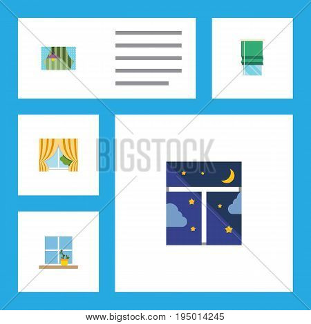 Flat Icon Glass Set Of Flowerpot, Curtain, Glass Frame And Other Vector Objects. Also Includes Pot, Glass, Night Elements.