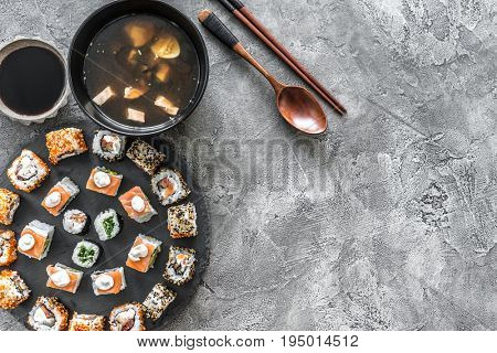 Sushi set in and miso soup