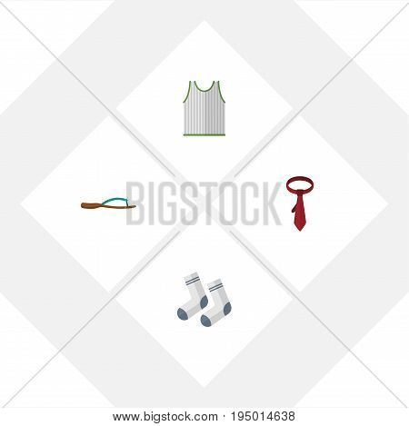 Flat Icon Dress Set Of Foot Textile, Singlet, Cravat And Other Vector Objects. Also Includes Foot, Socks, Cravat Elements.