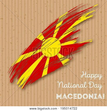 Macedonia Independence Day Patriotic Design. Expressive Brush Stroke In National Flag Colors On Kraf