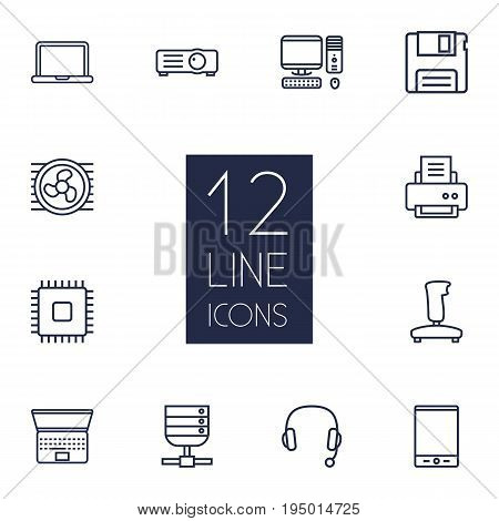Set Of 12 Laptop Outline Icons Set.Collection Of Cooler, Printer, Notebook And Other Elements.