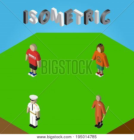 Isometric People Set Of Seaman, Guy, Cleaner And Other Vector Objects. Also Includes Sailor, Woman, Man Elements.