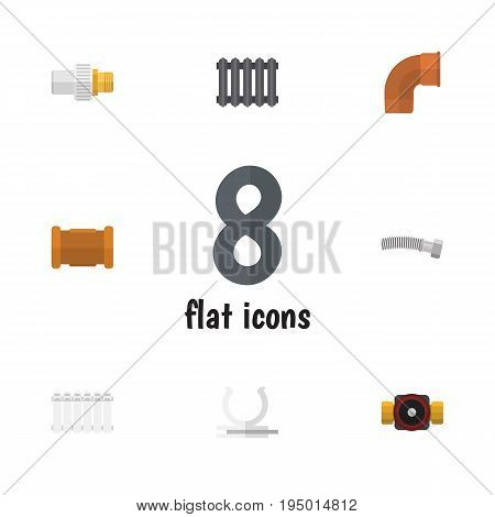 Flat Icon Pipeline Set Of Radiator, Industry, Tap And Other Vector Objects. Also Includes Coiled, Holder, Connector Elements.