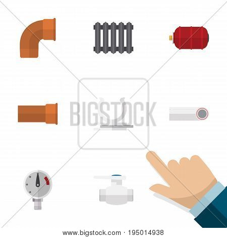 Flat Icon Industry Set Of Heater, Drain, Conduit And Other Vector Objects. Also Includes Tank, Plastic, Iron Elements.