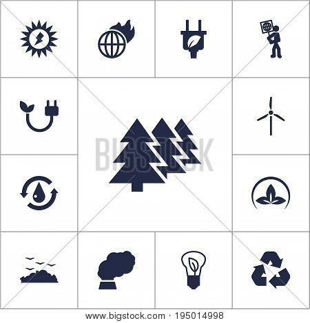 Set Of 13 Ecology Icons Set.Collection Of Contamination, Energy, Fan And Other Elements.