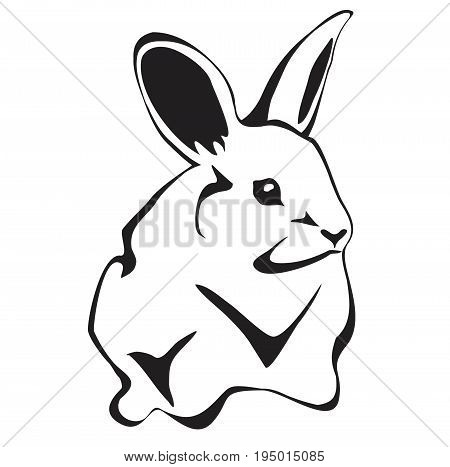 Rabbit in flat style isolated on white background. Rabbit icon for web design. Funny bunny