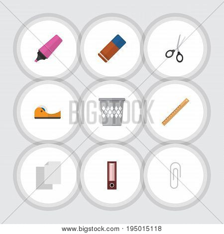 Flat Icon Equipment Set Of Fastener Page, Clippers, Marker And Other Vector Objects. Also Includes Blank, Clippers, Straightedge Elements.