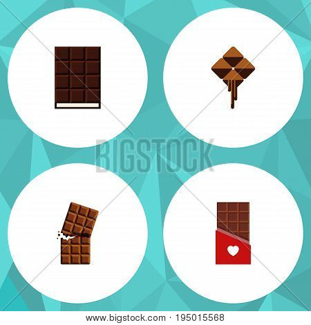 Flat Icon Bitter Set Of Chocolate, Delicious, Wrapper And Other Vector Objects. Also Includes Cocoa, Wrapper, Bitter Elements.
