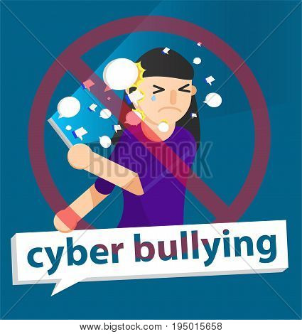 cyber bullying girl background graphic vector illustrations