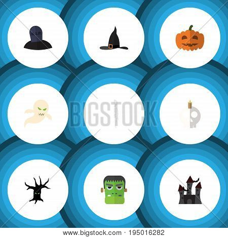 Flat Icon Celebrate Set Of Witch Cap, Tomb, Cranium And Other Vector Objects. Also Includes Pumpkin, Wizard, Specter Elements.