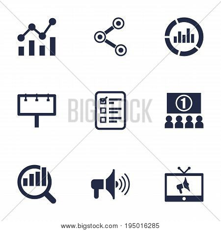 Set Of 9 Advertising Icons Set.Collection Of Bullhorn, Ads, Auditorium And Other Elements.