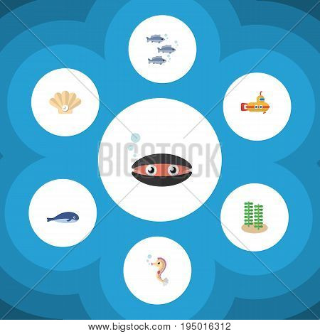 Flat Icon Marine Set Of Cachalot, Tuna, Conch And Other Vector Objects. Also Includes Submarine, Pearl, Alga Elements.